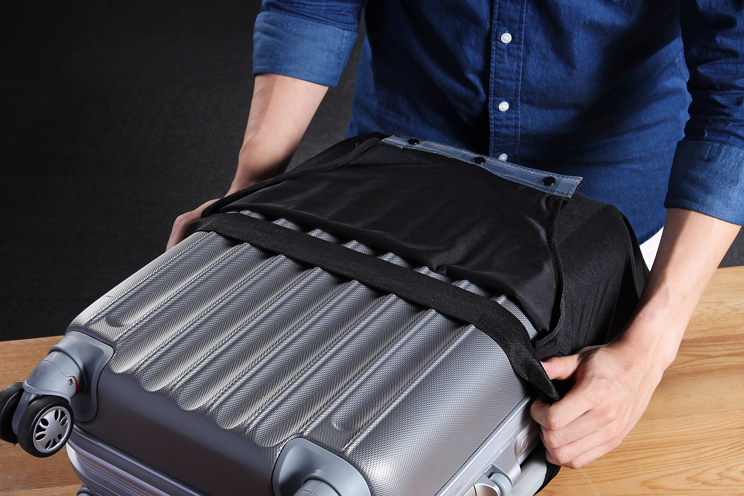 Travel Luggage Protective Cover - Stretchable Suitcase Protector Case, Black, 26 Inches by Juvale (Image #3)