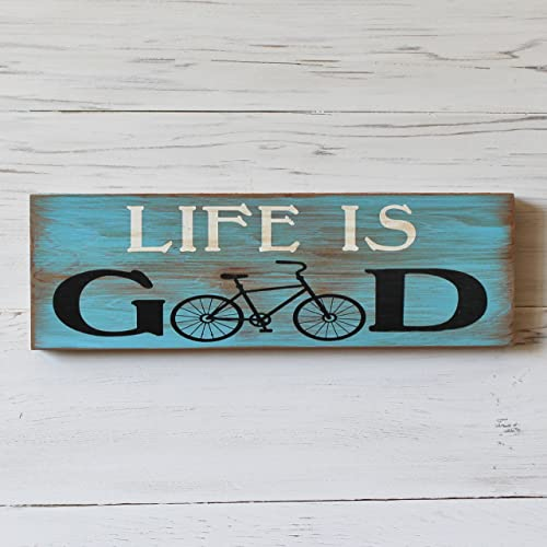 Amazon.com: Life is Good Rustic Bicycle Wood Sign Home Decor Wall ...