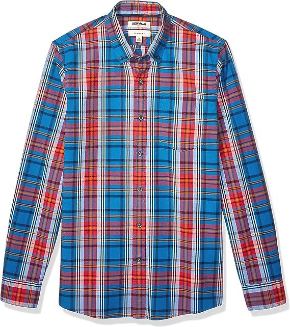 Goodthreads Slim-fit Short-Sleeve Placed-Stripe Pocket Oxford Shirt Hombre