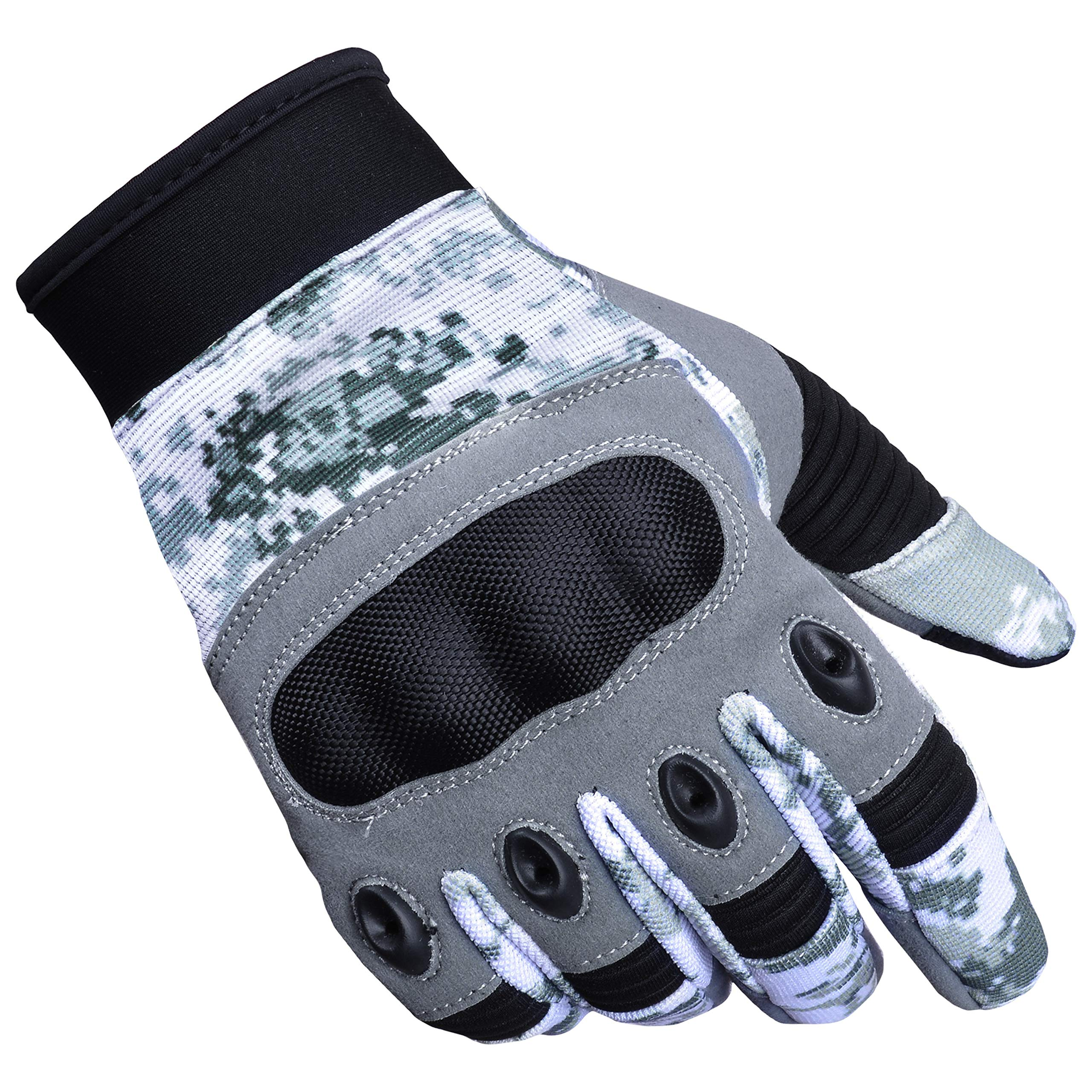 Zimco Cycle Wear Protective Hard Knuckle Touch Screen Gloves Cycling Motorcycle Tactical Gloves for Shooting, Hunting, Hiking, Paintball, Motorbike, Safety, Working Sports Gloves (Grey Camo, Medium) by Zimco Cycle Wear