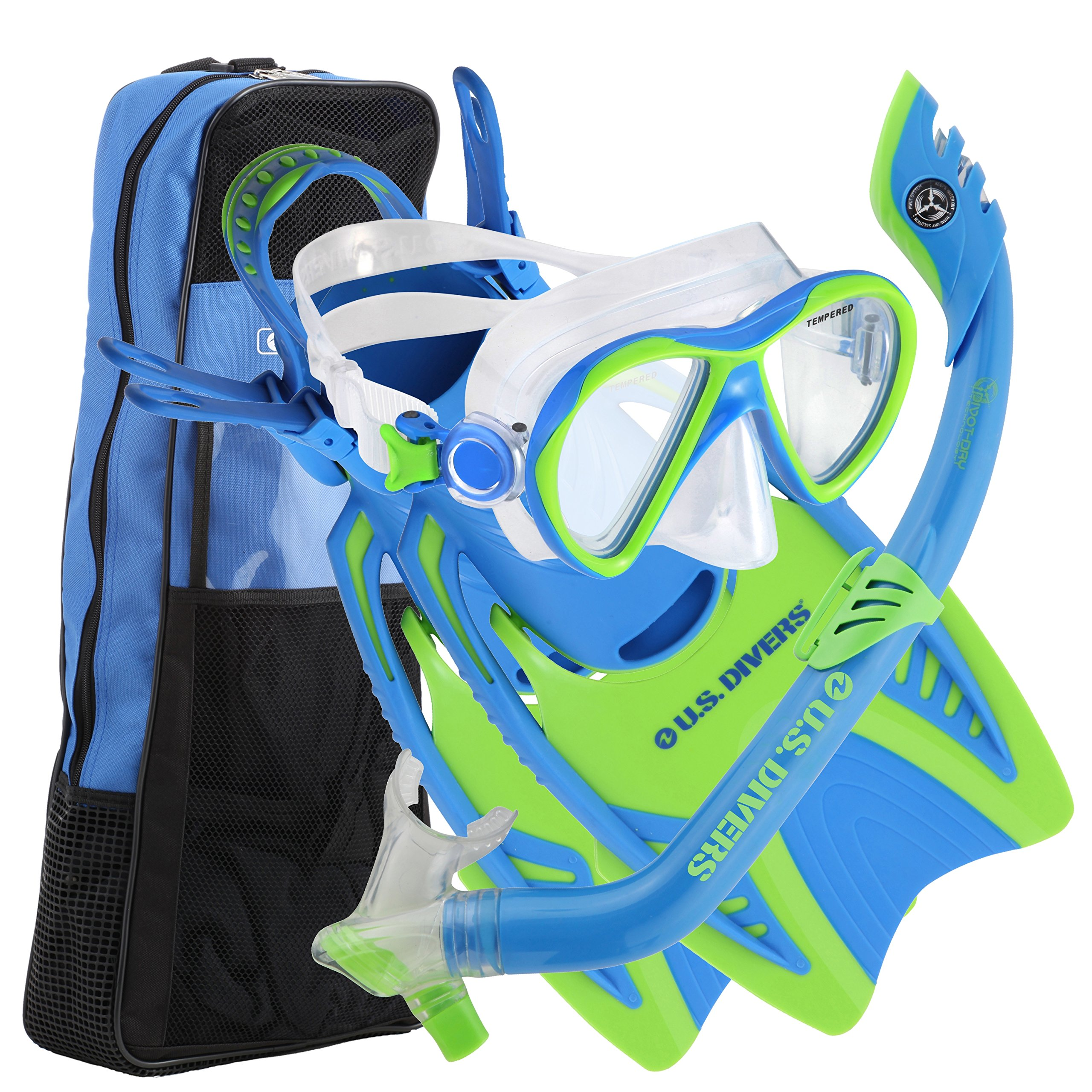 U.S. Divers Youth Flare Jr Silicone Snorkeling Set Fun Blue Small 1-3 by U.S. Divers