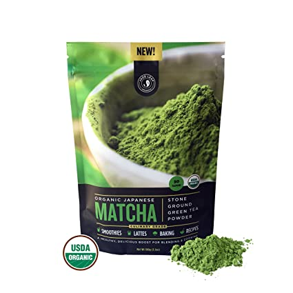 Matcha Green Tea Powder, Organic - Authentic Japanese Origin, Superior Quality, Classic Culinary Grade (Smoothies, Lattes, Baking, Recipes) - Antioxidants, Energy - Jade Leaf Brand [100g Value Size]