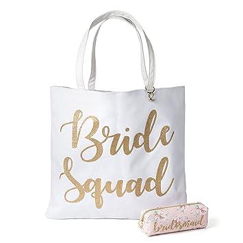 fc77921c0e Amazon.com : Reversible Bride Canvas Tote Bag with Cosmetic Bag (Bride  Squad) : Beauty