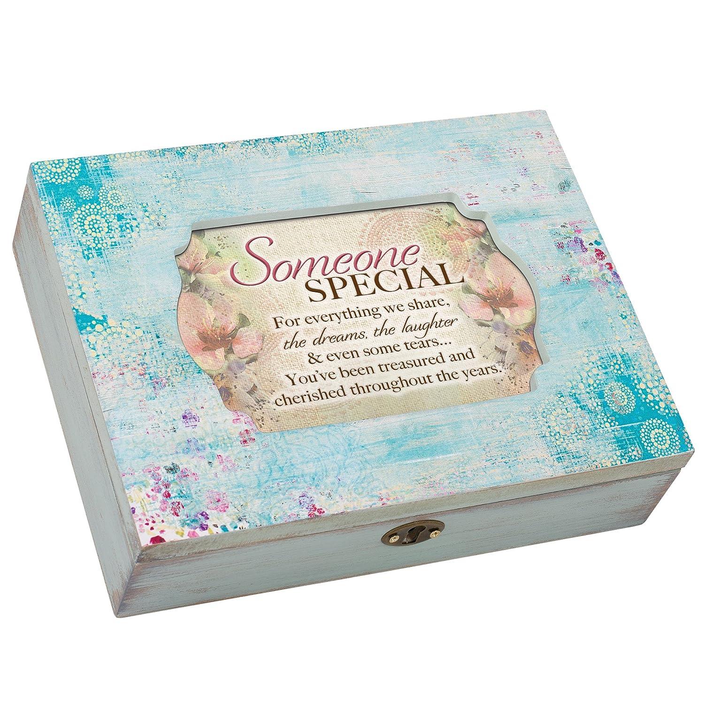 Cottage Garden Someone Special Share Dreams Aqua Medallion Decoupage Music Box Plays Wonderful World