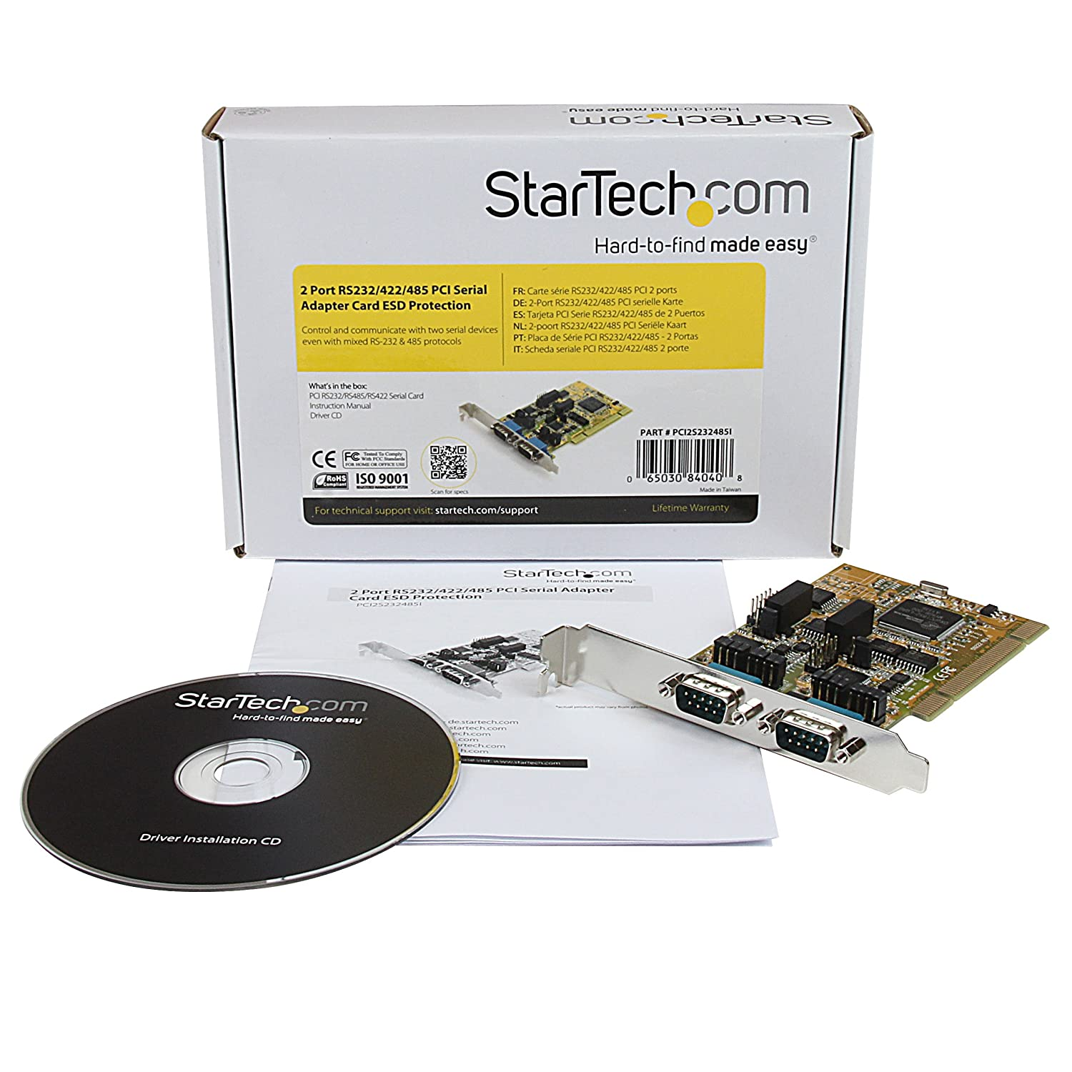 StarTech.com 2 Port RS232/422/485 PCI Serial Adapter Card w/ESD - Serial Adapter - PCI - RS-232 x 2 - Yellow - PCI2S232485I