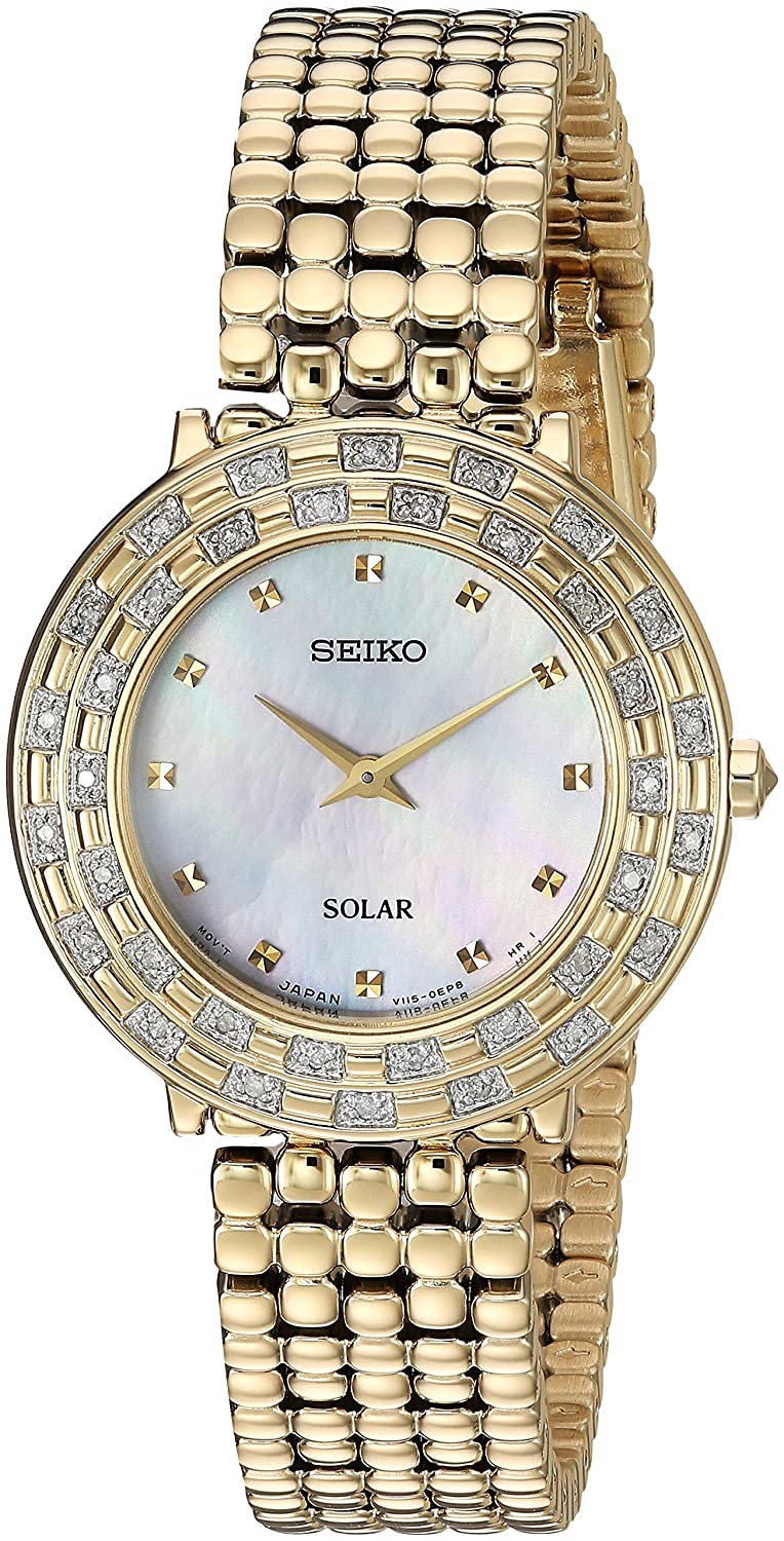 Seiko Women s TRESSIA Japanese-Quartz Watch with Gold-Tone-Stainless-Steel Strap, 13 Model SUP374