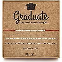RareLove Graduation Gifts for Her Graduate 925 Sterling Silver Morse Code Beaded Bracelets for Women Girls,Red String…