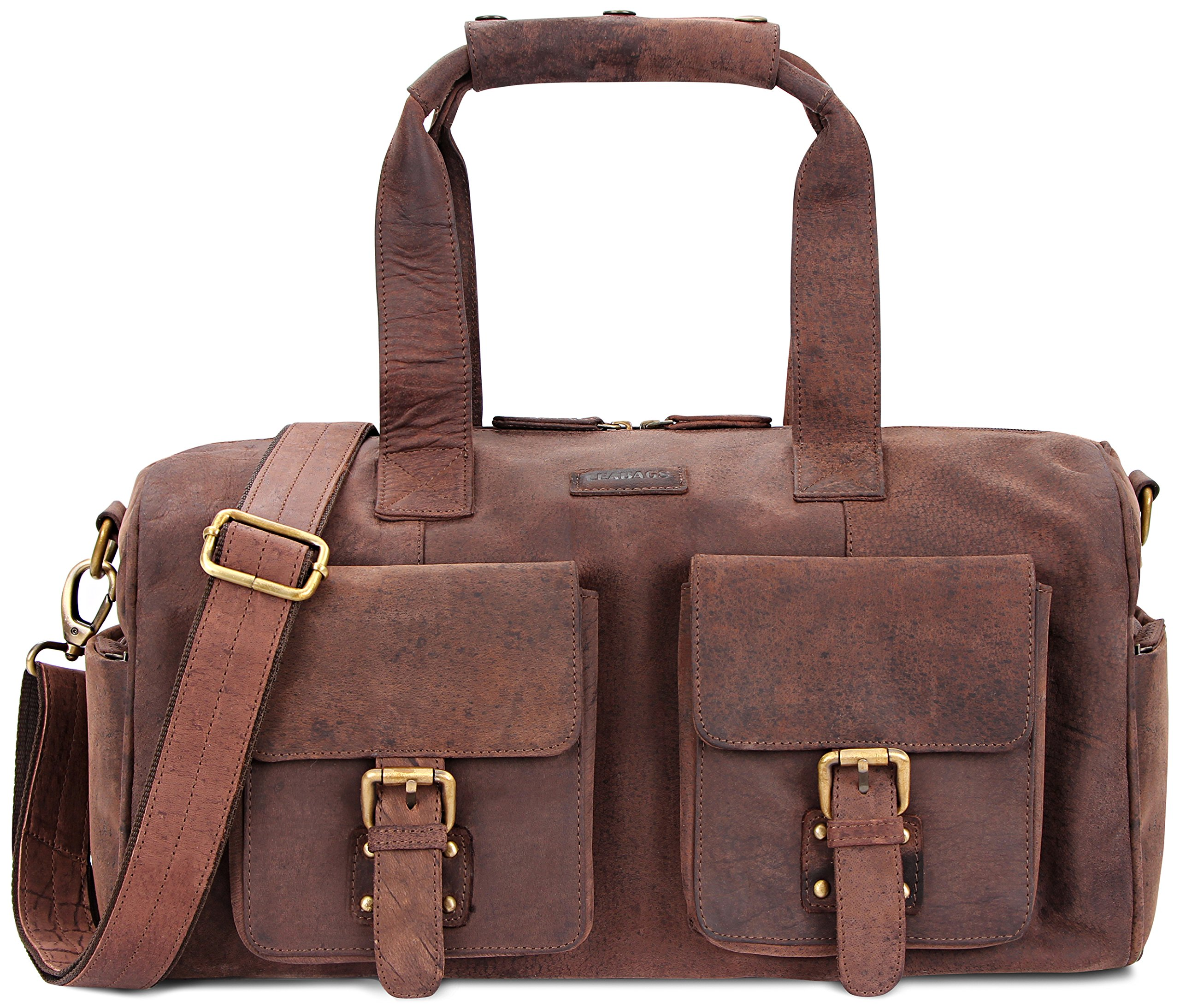 LEABAGS Munich genuine buffalo leather duffle bag in vintage style - Nutmeg