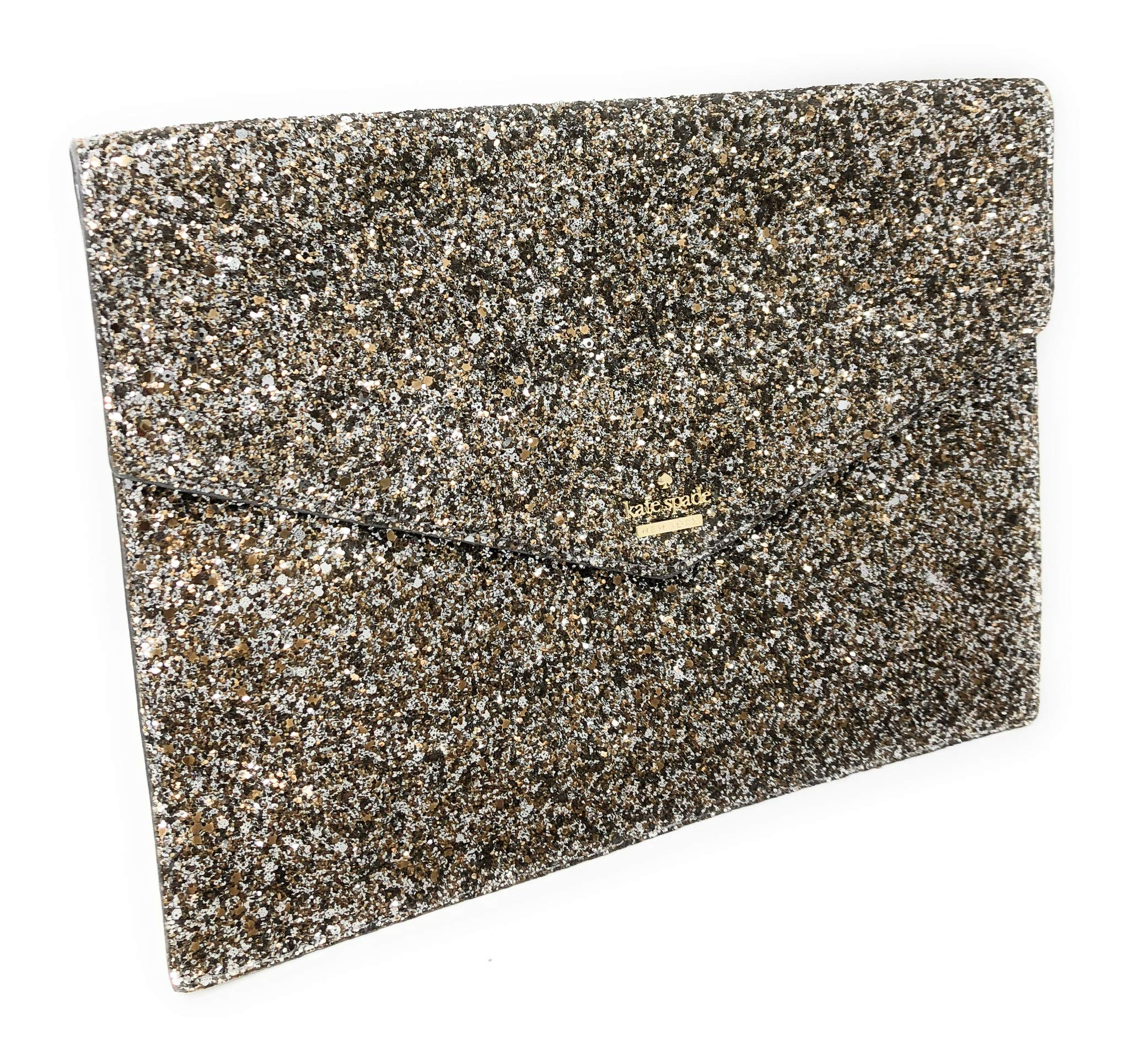 Kate Spade Mallo Laurel Way Glitter Clutch Evening Bag Gunmetal