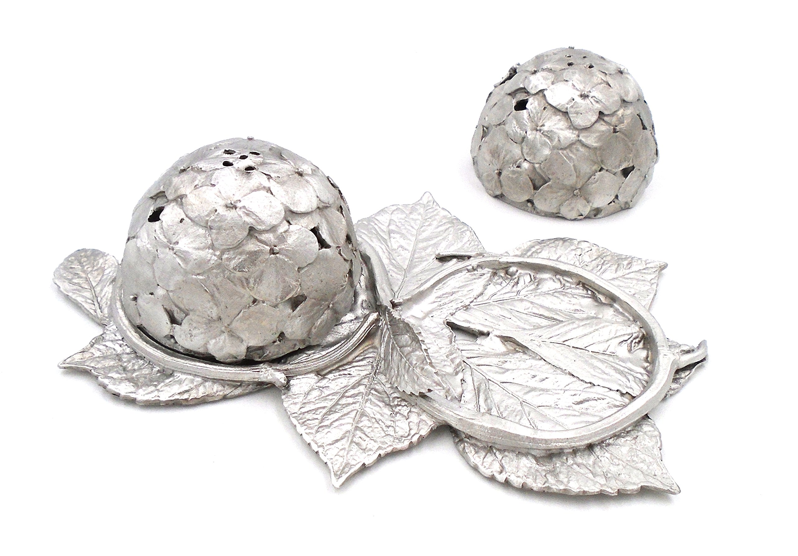 ''Hydrangea'' Salt & Pepper Shakers (with Tray) by Michael Michaud for Silver Seasons Table Art
