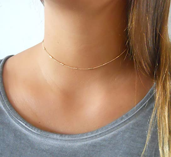 1499168d068ec Amazon.com: Handmade Designer Delicate Gold Choker Chain With Tiny Tubes:  Handmade