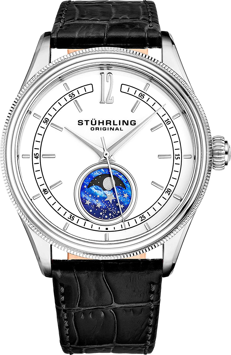 Stuhrling Original MoonPhase Dress Watch - Stainless Steel Case and Leather Band - Analog Dial - Celestia Mens Watches Collection