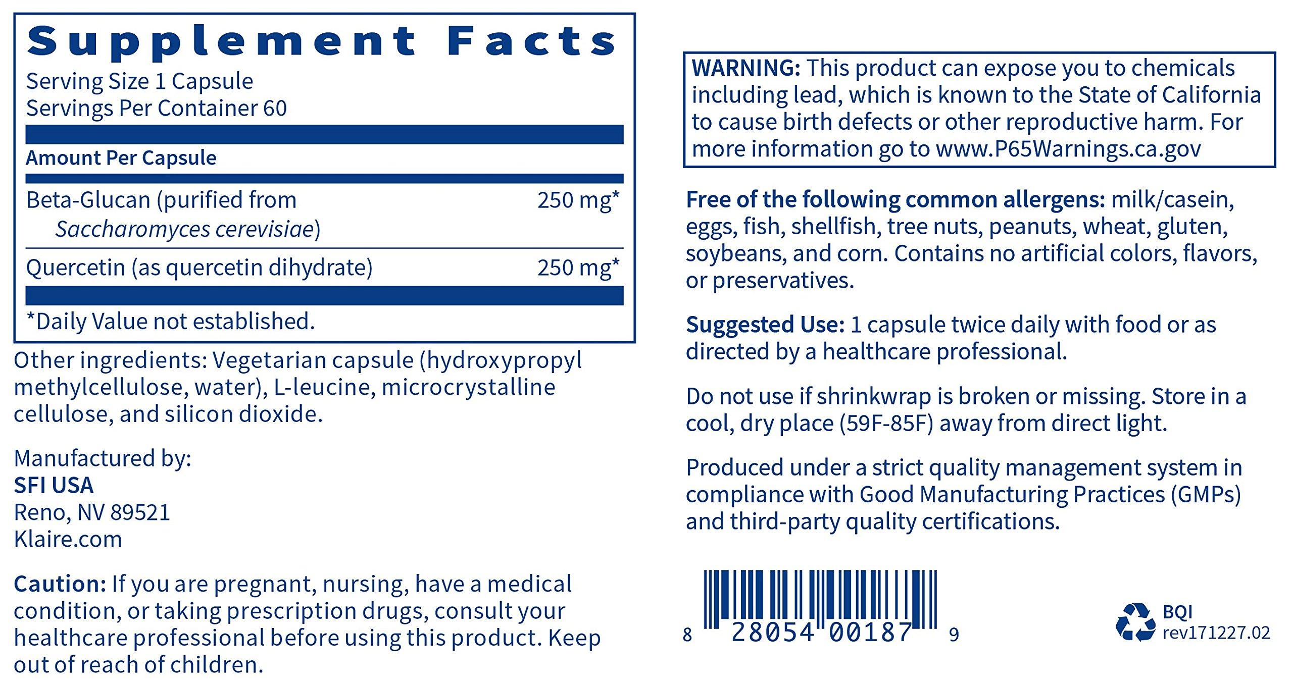 Klaire Labs Beta-Q Immune - 250mg Beta-Glucan & Antioxidant Quercetin (60 Capsules) by Klaire Labs (Image #5)