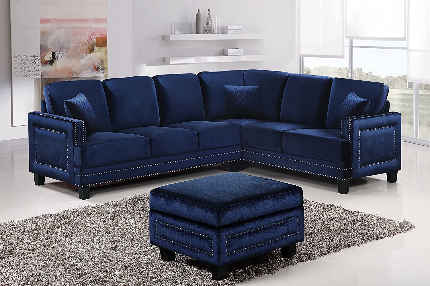 Amazon Com Meridian Furniture 655navy Sectional Ferrara Velvet