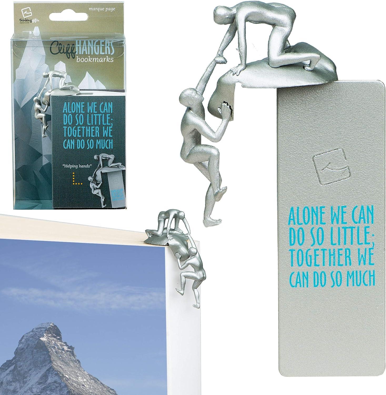 Cliffhangers marcapáginas original, separador para libro, libreta, cuaderno, clip de página como idea para regalo para lectores - Modelo ayudante (Plateado)