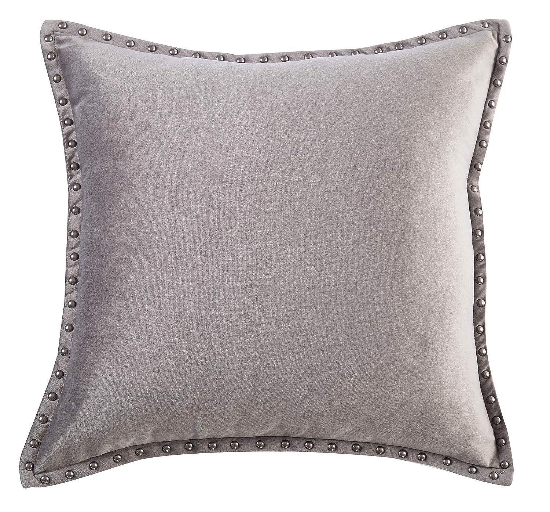 Amazoncom Gray Throw Pillow Cover Modern Metallic Rivet Velvet