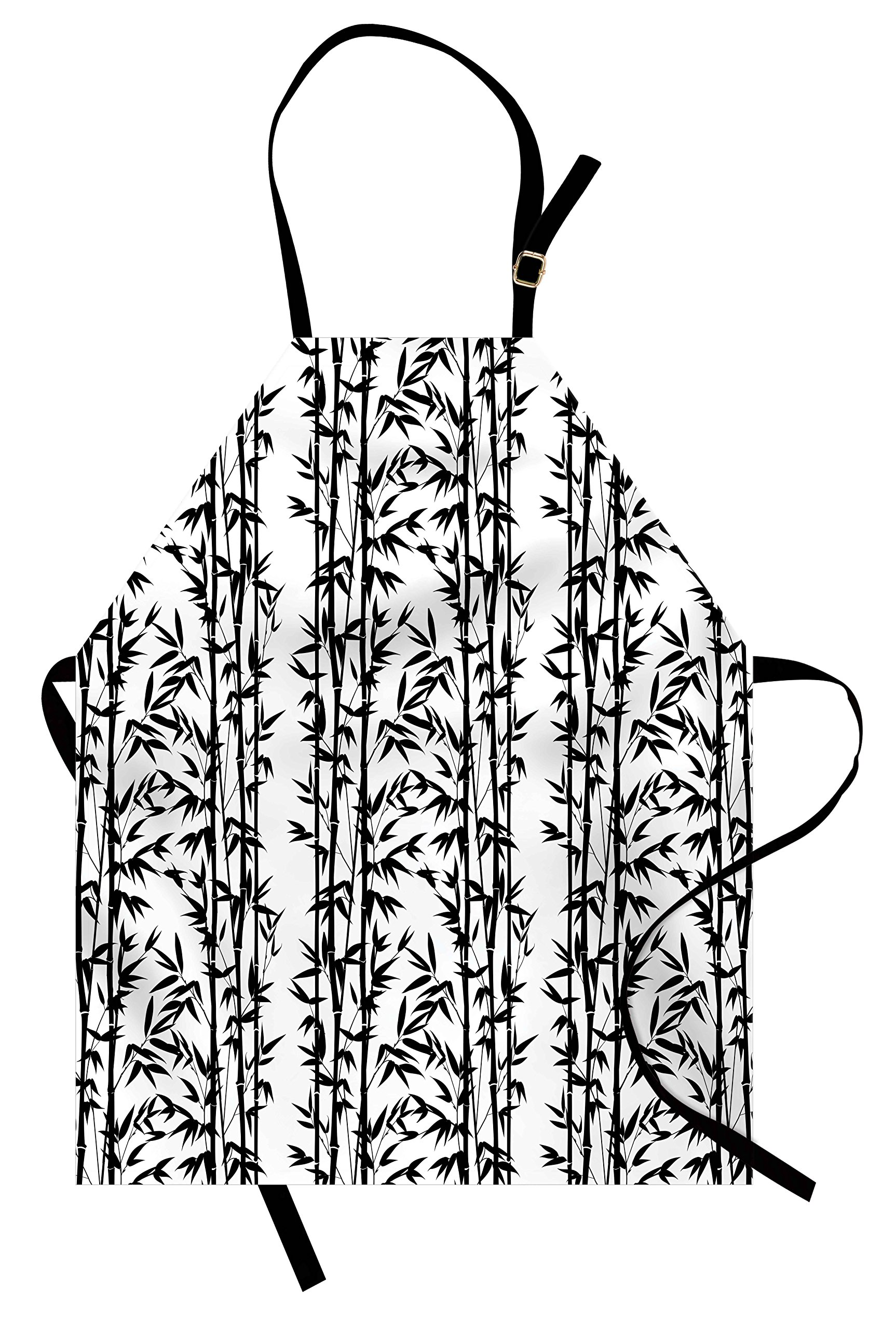 Lunarable Bamboo Apron, Monochrome Natural Inspirations with Bamboo Tree Growth Exotic Garden Zen Spa Art, Unisex Kitchen Bib Apron with Adjustable Neck for Cooking Baking Gardening, Black White