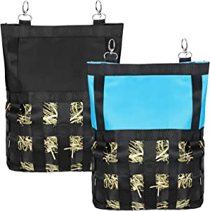 2 Pieces Guinea Pig Rabbit Hay Feeding Bag Small Animal Hay Feeder Bag Pet Hanging Feeder Sack Small Animals Feeding Device Supply for Chinchilla Hamsters Hay Storage, 2 Colors