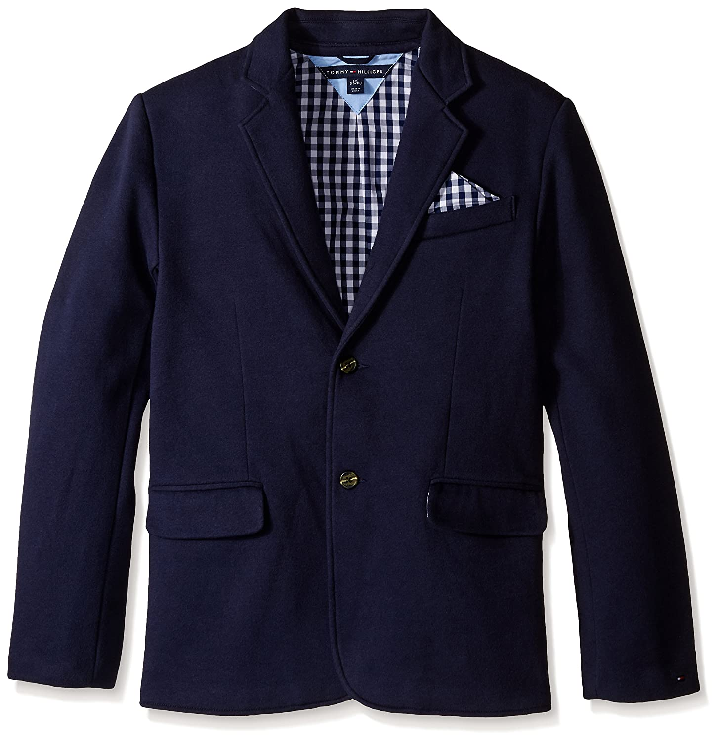Amazon.com: Tommy Hilfiger Boys' Knit Blazer with Gingham Lining ...