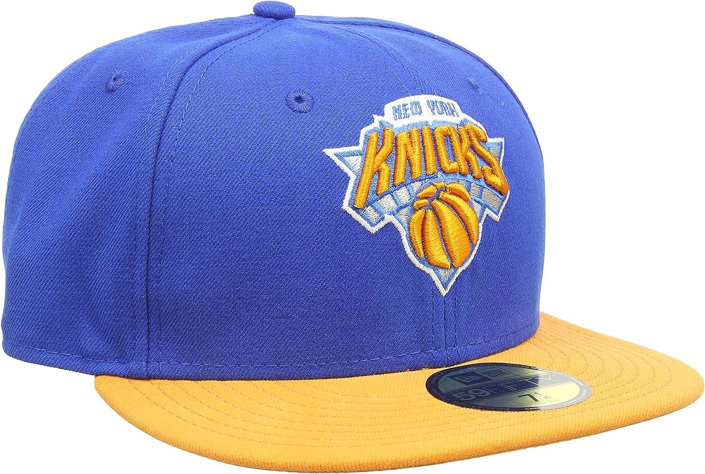 Orange Lid Orange White NY New Era 59Fifty Fitted Hat New York Knicks Blue