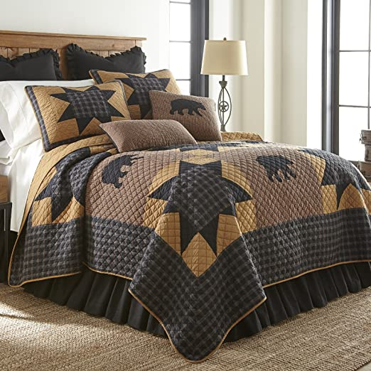 Donna Sharp Moonlit Bear Quilted Rustic Country Lodge Queen Quilt Bedding New
