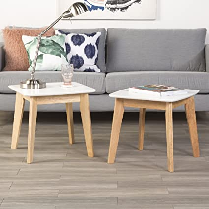 WE Furniture Set of 2 Retro Modern End Tables - White/Natural