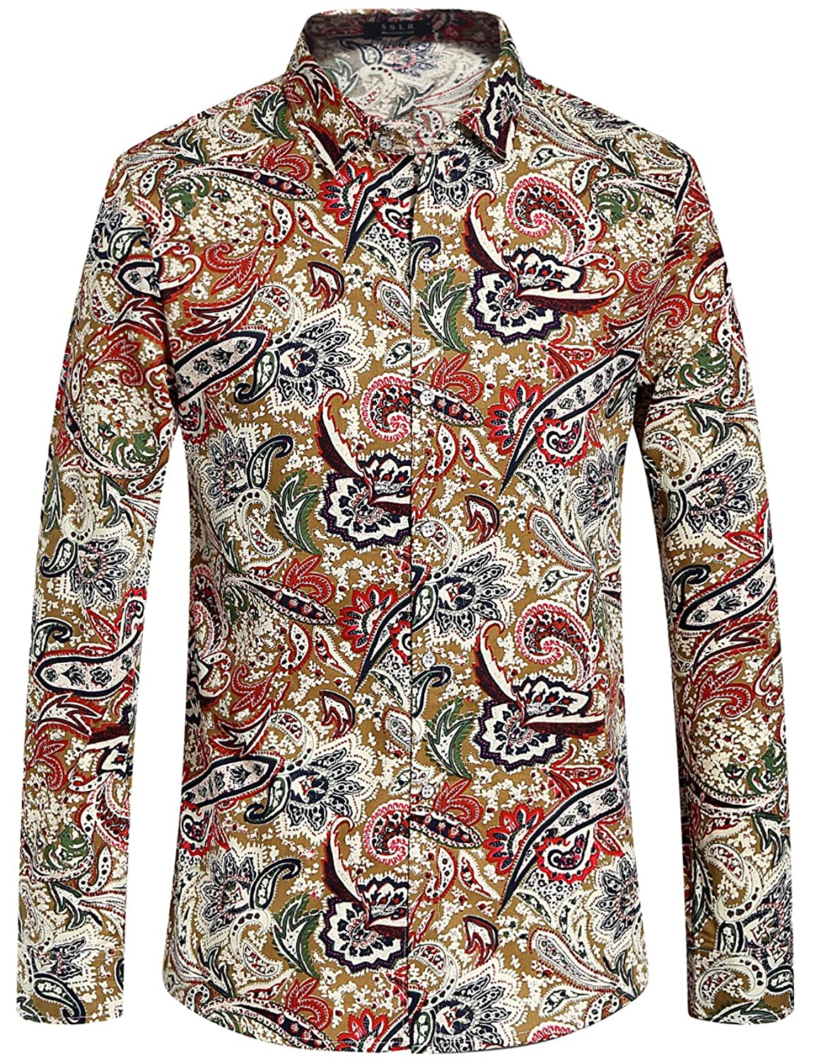 1960s Men's Clothing, 70s Men's Fashion SSLR Mens Paisley Cotton Casual Button Down Long Sleeve Shirt $27.00 AT vintagedancer.com