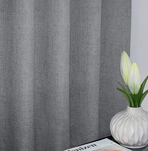 Gray 100 Blackout Textured Linen Curtain