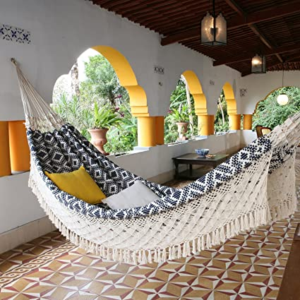 hammockoutdoor hammock3 person xl navy blue jacquard hand woven brazilian giant backyard amazon     hammock outdoor hammock 3 person xl navy blue      rh   amazon
