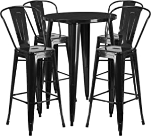 Flash Furniture 30'' Round Black Metal Indoor-Outdoor Bar Table Set with 4 Cafe Stools