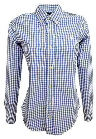 Ralph Lauren Polo Chemise pour Femmes - Small Poney - Carreaux Vichy Bleu  ciel blanc bfa295bf2488