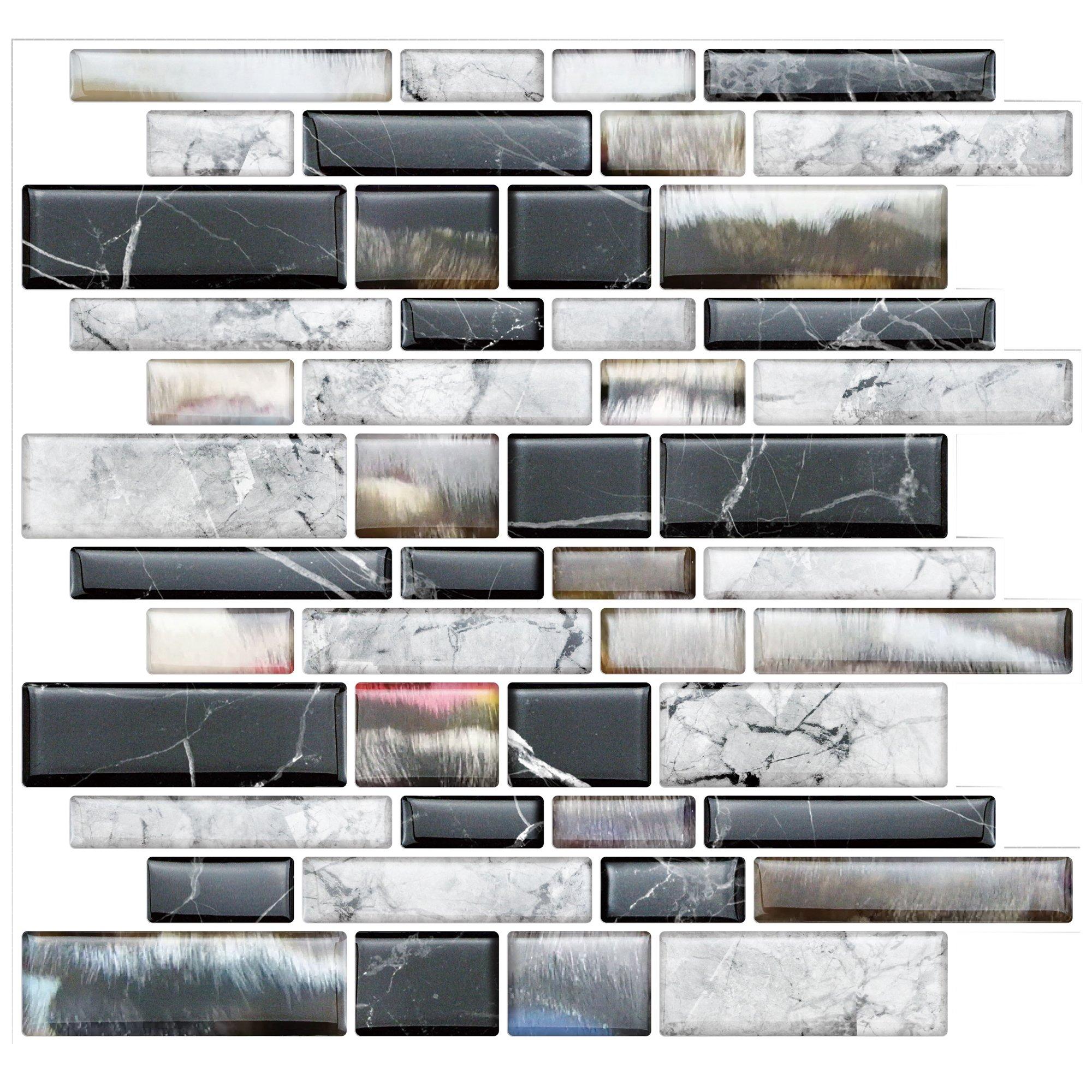 Stick On Tiles for Backsplash Kitchen   Self-Stick Backsplash Tiles   Peel and Stick, Self Adhesive, Removable Backsplash Wall Tile Stickers - 10'' x 10.5'' (10-Pack)