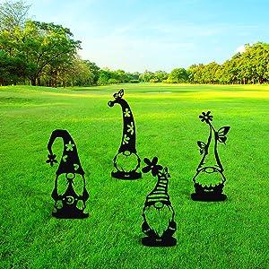 Gnomes Garden Decorations, YASUOA 4pcs Easter Cute Hollowed Steel Gnomes Garden Decorations, Garden Gnomes Steel Silhouette Art Dwarf Decor Branch Ornaments for Home Patio