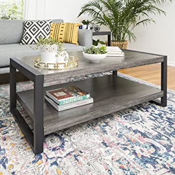 Amazon Com Walker Edison Industrial Modern Rectangle Metal Base And Wood Coffee Table Living Room Accent Ottoman 48 Inch Charcoal Furniture Decor