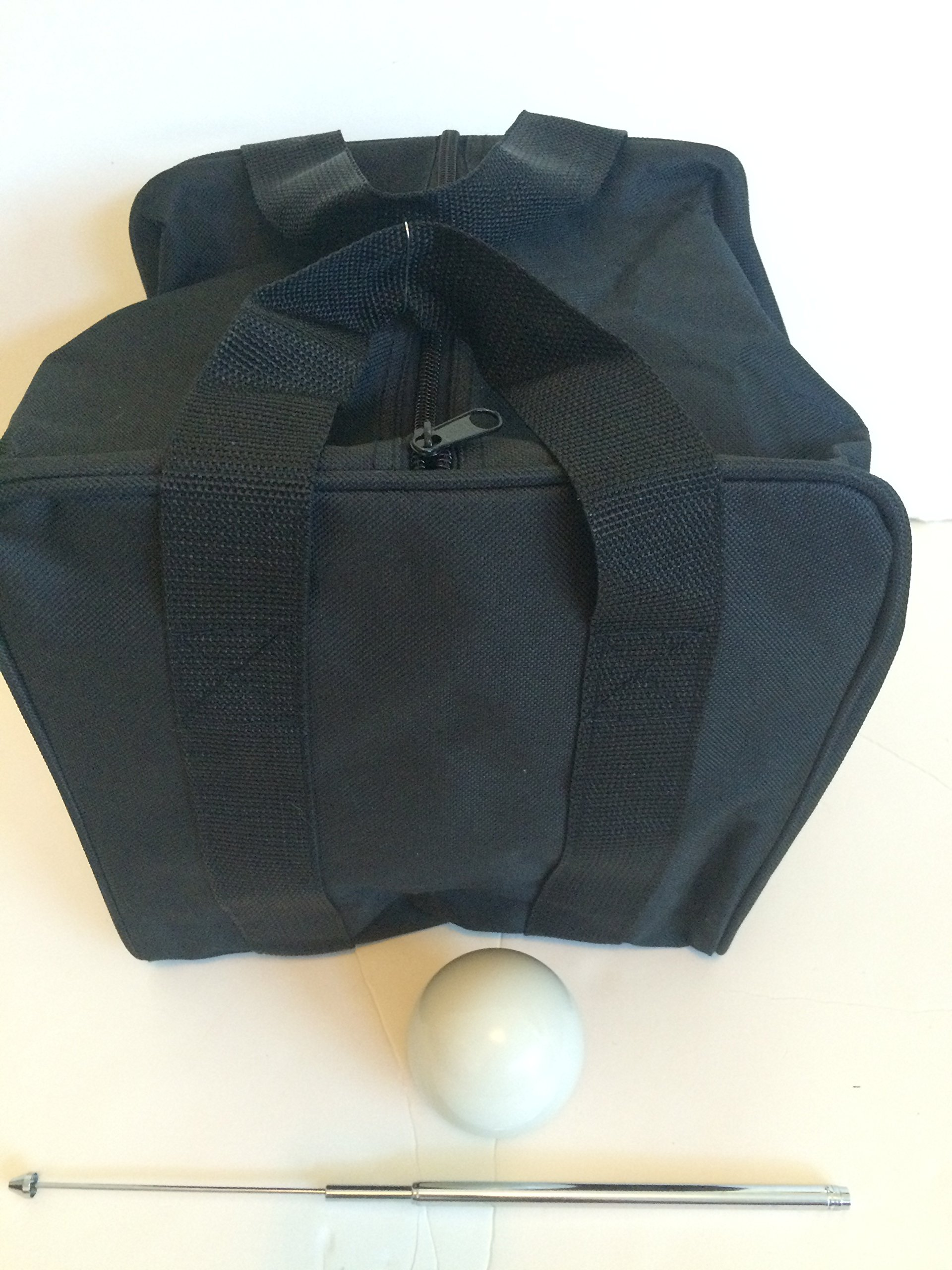 Unique Bocce Accessories Package - Extra Heavy Duty Nylon Bocce Bag (Black with Black Handles), White pallina, Extendable Measuring Device