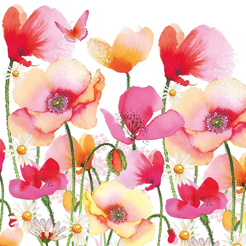 Tischservietten 1331922 20 St/ück Wei/ß//Bunt Tissue PPD Aquarell Poppies /& Daisies Servietten 33 x 33 cm