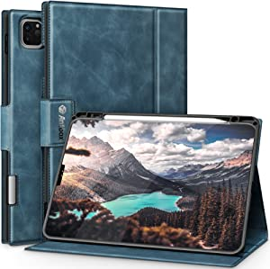 Antbox Case for iPad Pro 11 Inch 2021&2020 3rd/2nd Generation Cover with Built-in Apple Pencil Holder Auto Sleep/Wake Function PU Leather iPad Pro 11 inch Case 2021&2020 (Blue)