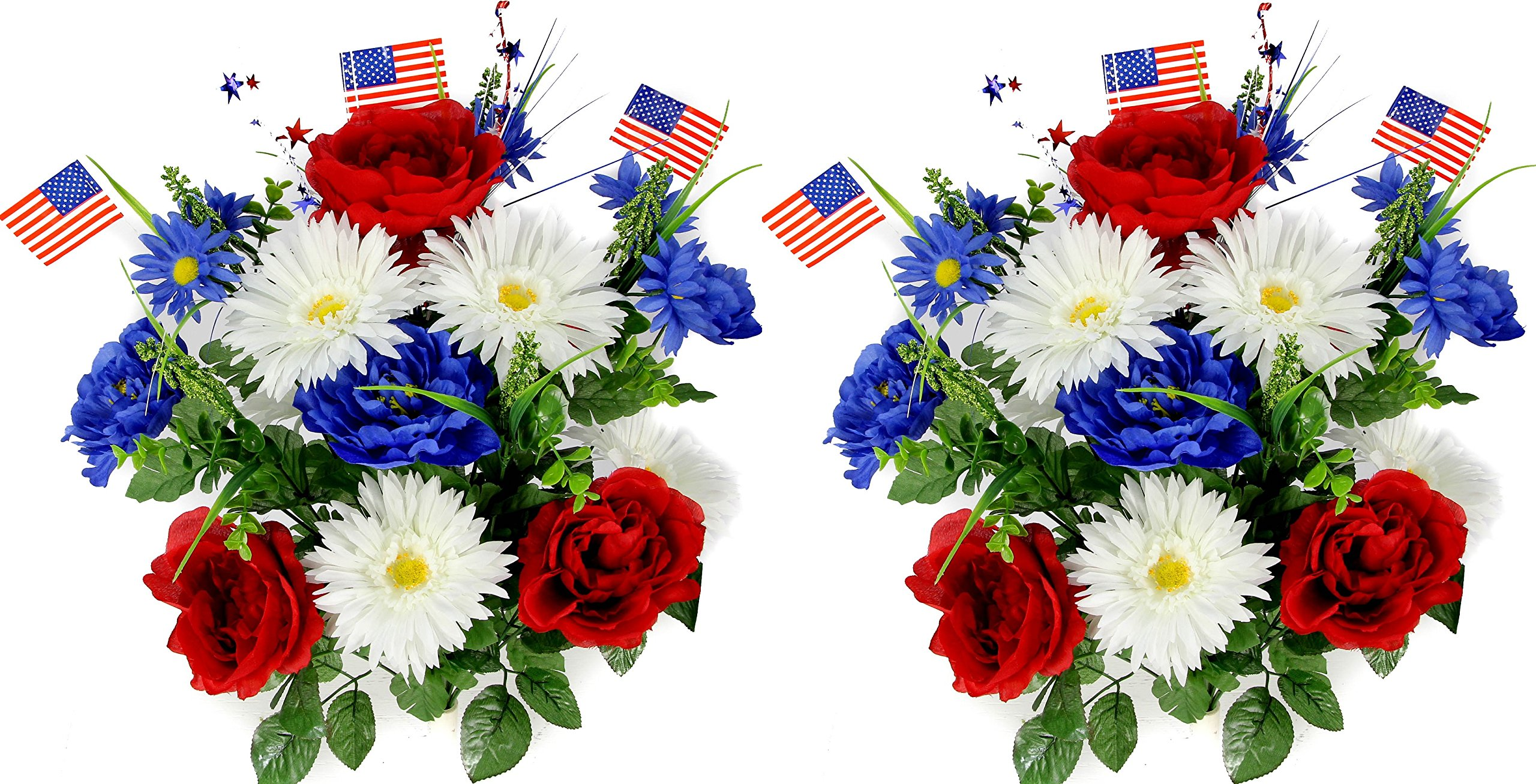 Admired-By-Nature-18-Stems-Artificial-Blooming-Peony-Gerbera-Daisy-with-Small-American-Flags-Fillers-Mixed-Flowers-Bush-for-Memorial-Day-RedBlueWhite-2-Pieces