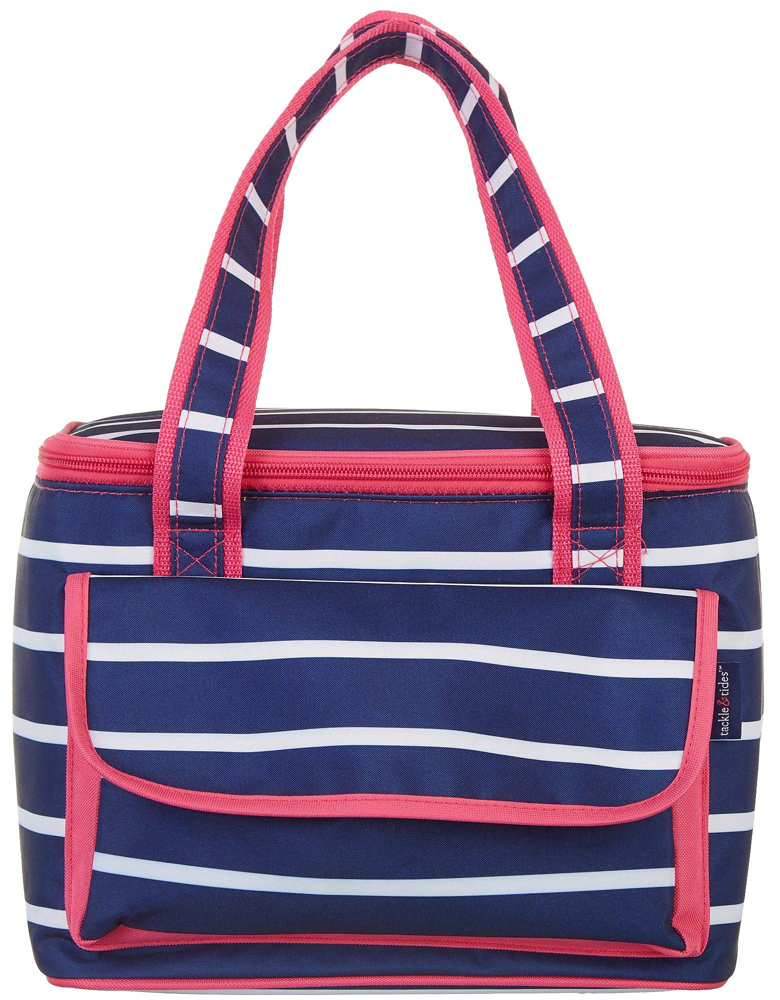 Tackle & Tides Stripe 16 Can Cooler Tote One Size Navy Blue/White/Pink