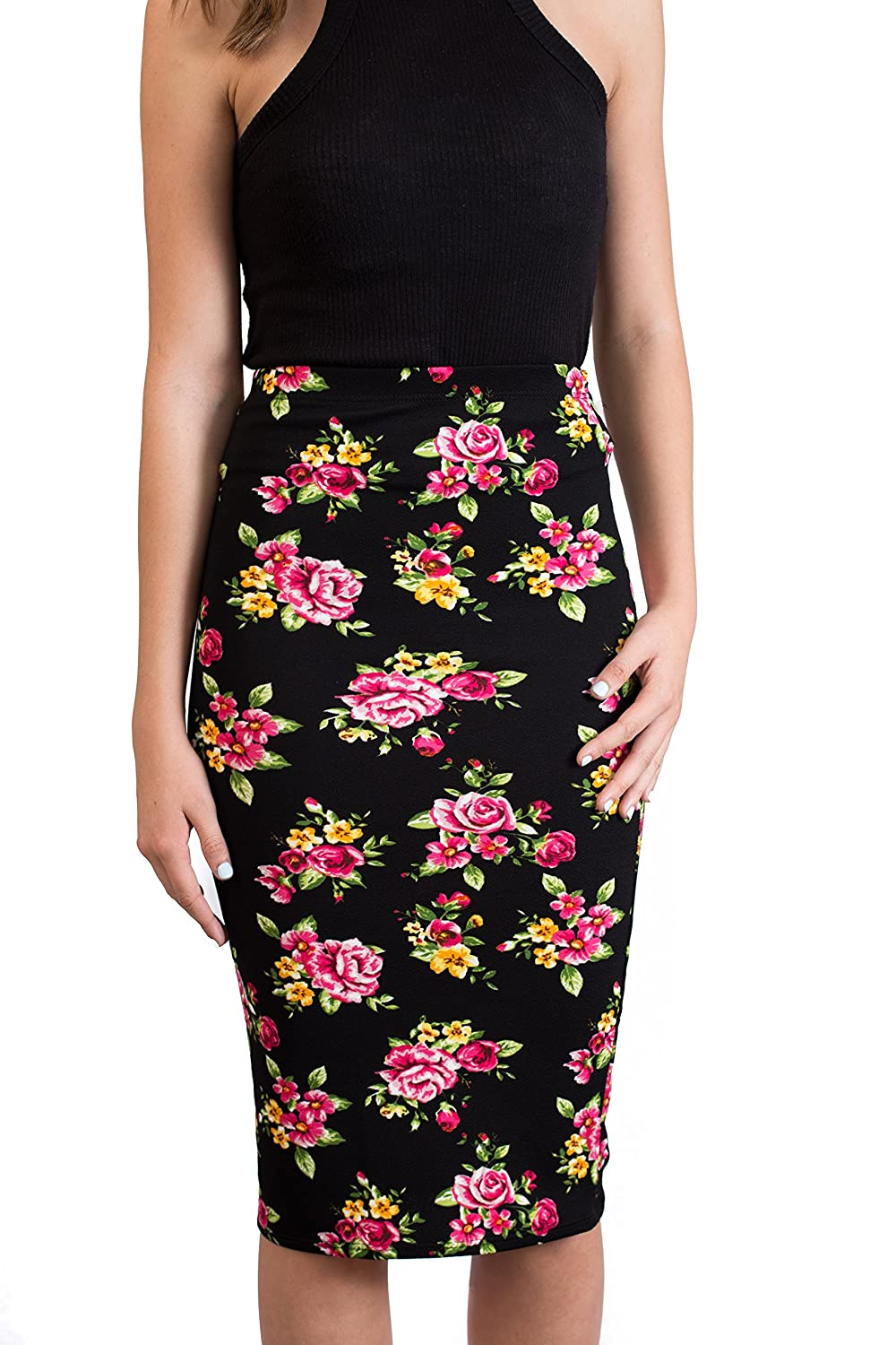 CALDORE USA High Waisted Midi Pencil Skirts - Women (Junior Ladies) Knee Length Dress Wear