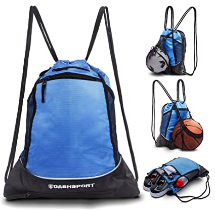 Drawstring Bag with Mesh Net - Perfect Sackpack with Ball Net for All  Sports - Gym Bag for Men and Women 56a13124d