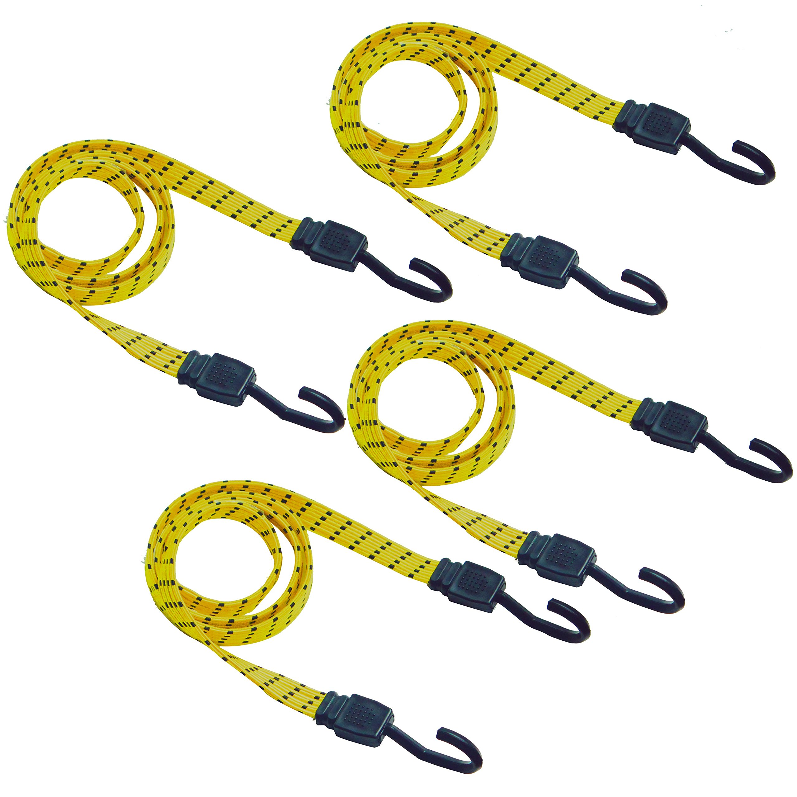 CARTMAN Ultra 48'' Black/Yellow Flat Bungee Cord, 4pk x 48''