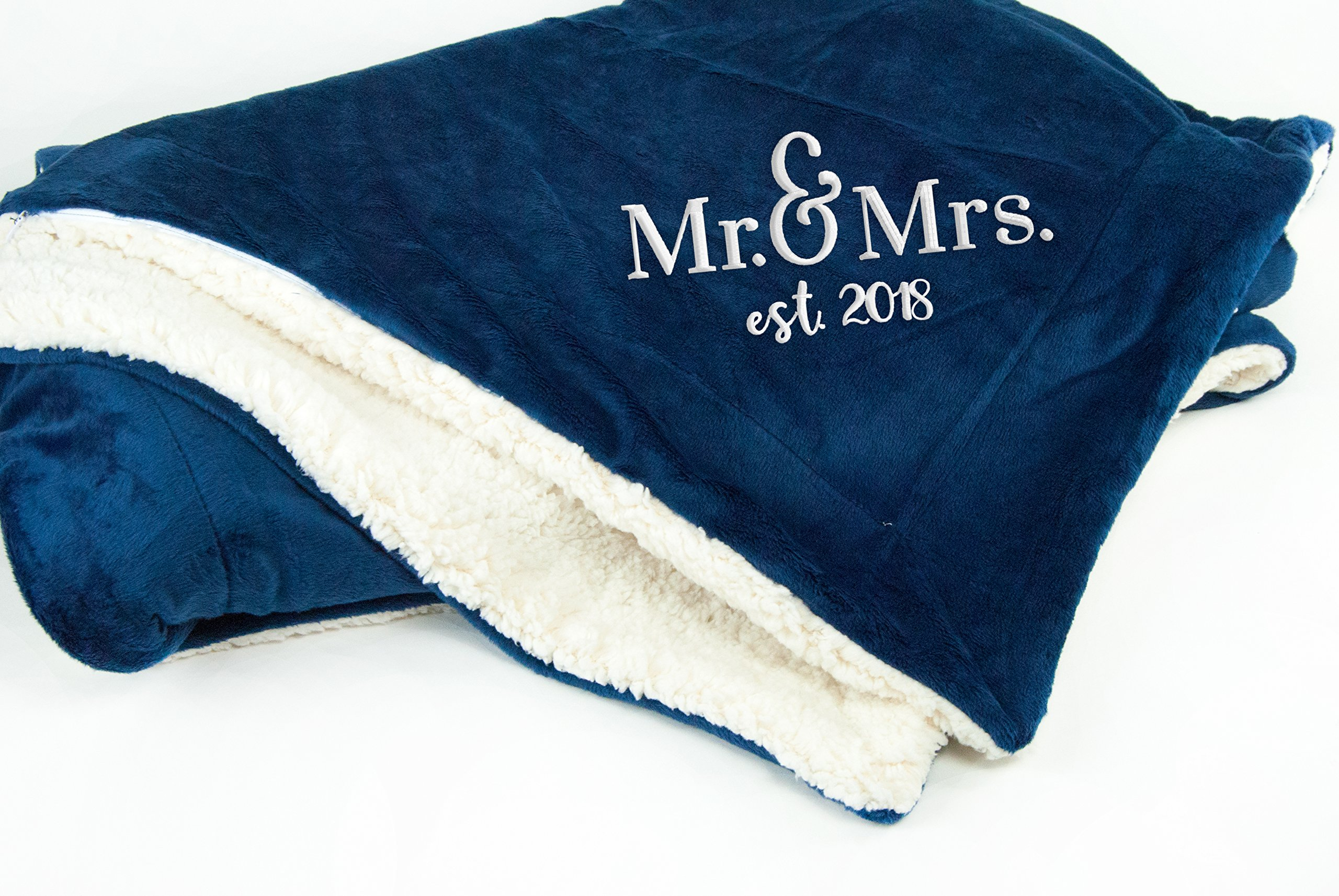 The Crafty Engineer Mr. and Mrs. Established 2018 Throw Blanket | Bridal Shower Gift | Wedding Gift (Blue)