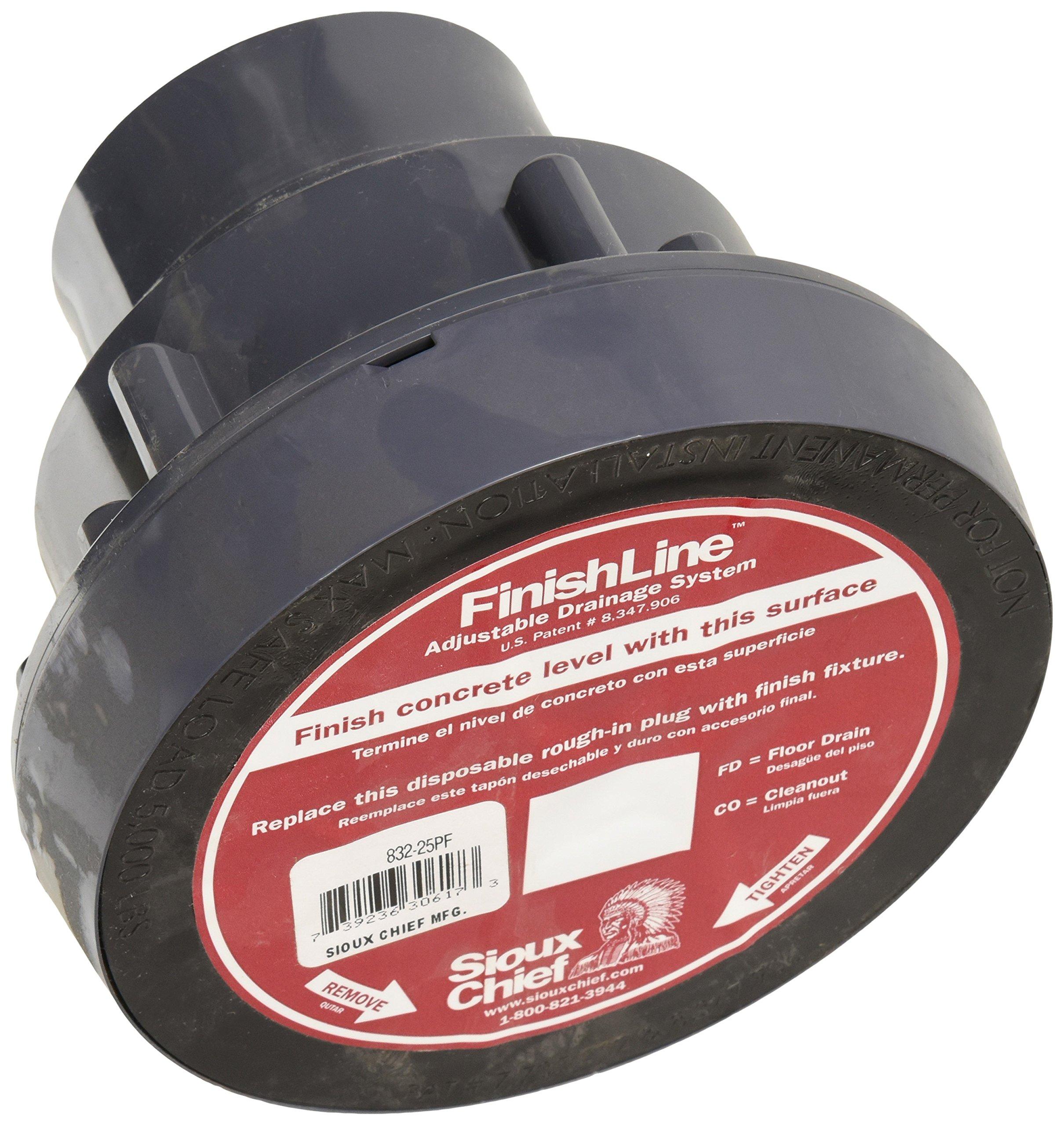 Soux Chief 832-25PNR Adjustable Floor Drain Schlage 40 Hub Connection, 5 1/2'',