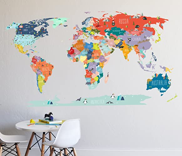 Amazon wall decal world map interactive map wall sticker wall decal world map interactive map wall sticker room decor map decor gumiabroncs Gallery