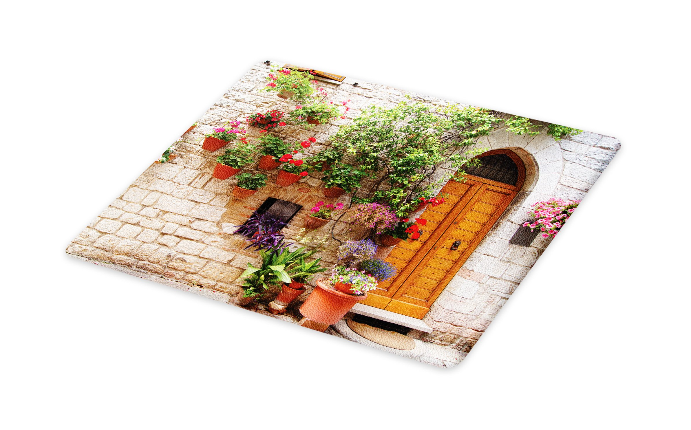 Lunarable Tuscan Cutting Board, Begonia Blossoms in Box Window Wooden Shutters Brick Wall Romagna Italy, Decorative Tempered Glass Cutting and Serving Board, Large Size, Orange White Green