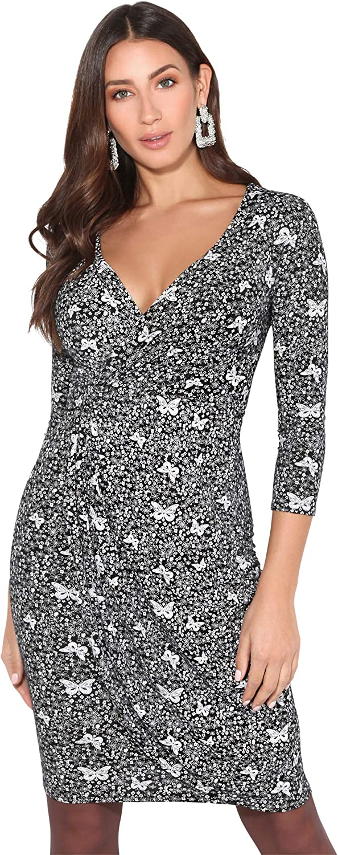 TALLA 48. KRISP Vestido Mujer Ajustado Fiesta Invitada Boda Outlet Corto Colores Tallas Grandes Noche Elegante Cóctel Negro/Blanco (4273) 48