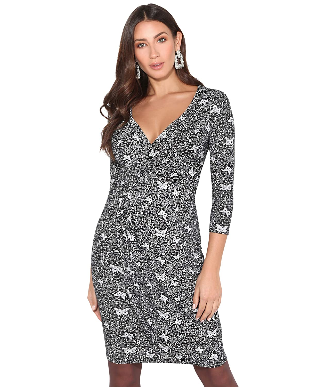 TALLA 42. KRISP Vestido Mujer Ajustado Fiesta Invitada Boda Outlet Corto Colores Tallas Grandes Noche Elegante Cóctel Negro/Blanco (4273)