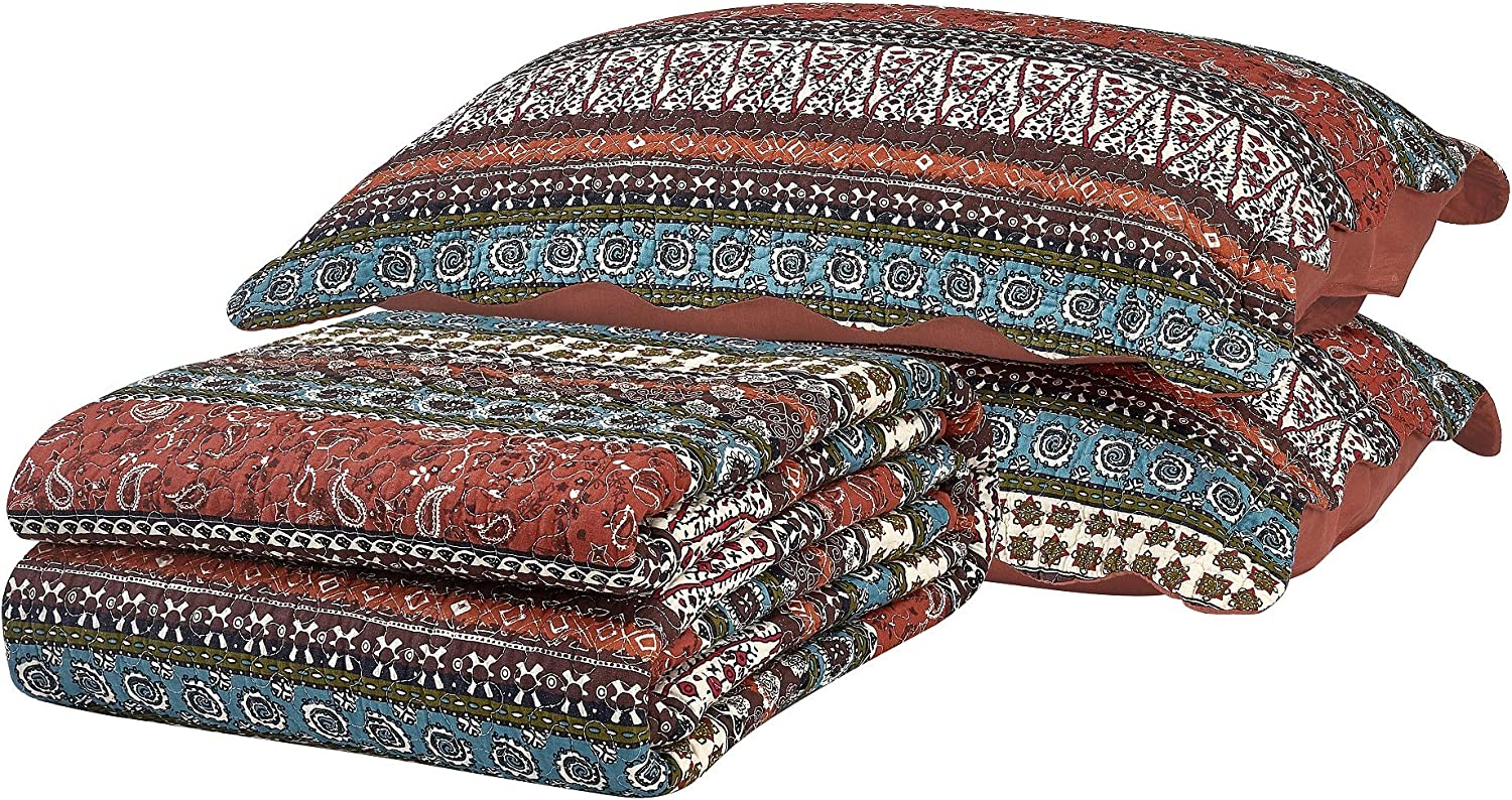 Chezmoi Collection Odette 3-Piece Boho Chic Rust Orange Brown and Red Pre-Washed 100/% Cotton Bohemian Bedspread Quilt Set King Size