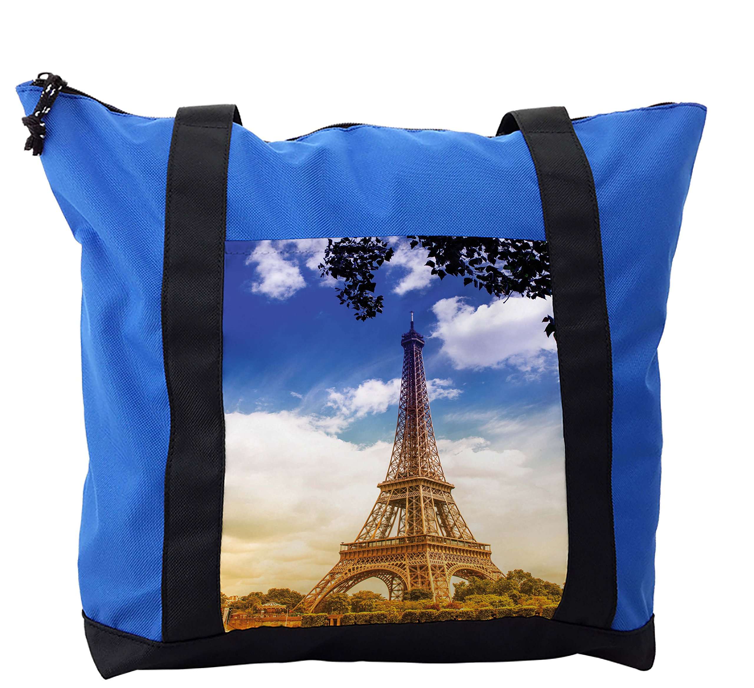 Lunarable Eiffel Tower Shoulder Bag, Sunny Afternoon Paris, Durable with Zipper